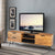 Roomy Wooden Media Console with Slanted Metal Base, Brown and Black - UPT-195125