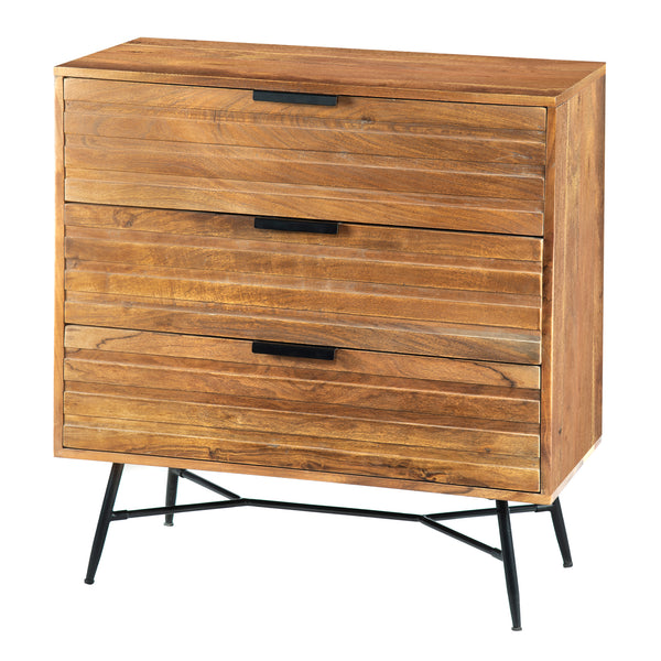 3 Drawer Wooden Chest with Slanted Metal Base, Brown and Black - UPT-195127