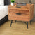 2 Drawer Wooden Nightstand with Metal Angled Legs, Black and Brown - UPT-195128