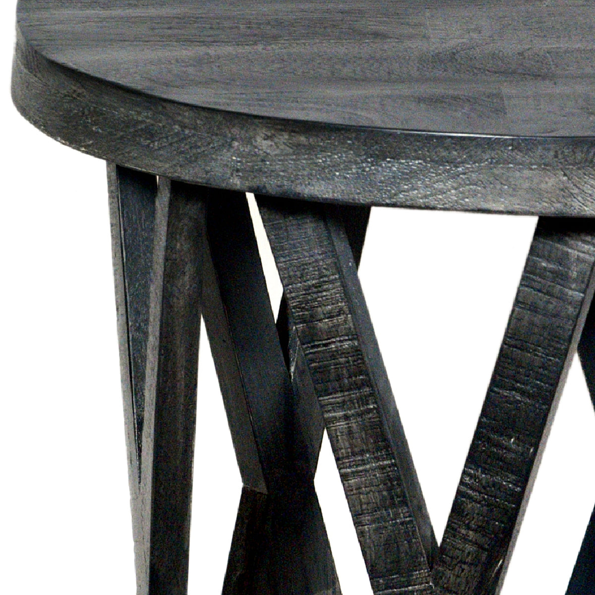 The Urban Port 22 Inch Farmhouse Style Round Wooden End Table With Airy Design Base Dark Gray Upt 195129 Benzara Com