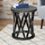 22 Inch Farmhouse Style Round Wooden End Table with Airy Design Base, Dark Gray - UPT-195129