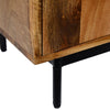 55 Inch Mango Wood TV Stand with 2 Open Compartments, Brown and Black - UPT-195276
