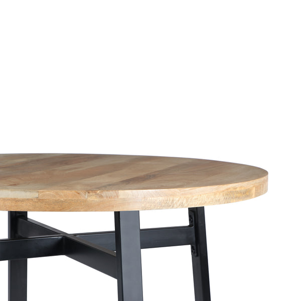 39 Inch Round Mango Wood Dining Table with Angled Iron Leg Support, Brown and Black - UPT-195277