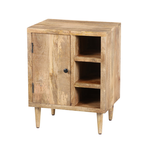 Transitional Mango Wood Side Table with Open Cubbies and Door Storage, Natural Brown , By The Urban Port