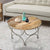 Round Wooden Top Coffee Table with Lattice Metal Base, Brown and Silver - UPT-197309