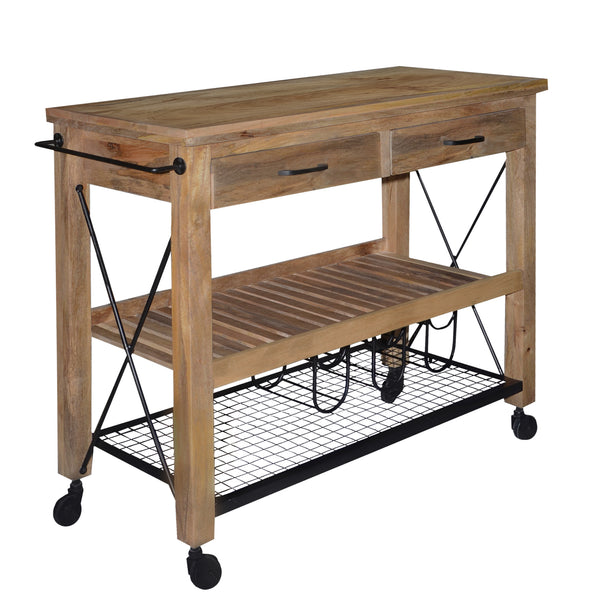 2 Drawer Wooden Bar Cart with 2 Shelves and Casters Support, Brown and Black - UPT-197313