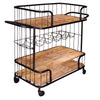 Metal Frame Bar Cart with Wooden Top and 2 Shelves, Black and Brown - UPT-197314