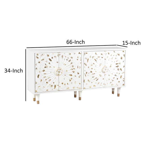 4 Door Wooden Sideboard with Engraved Sunburst Design Front, White and Gold - UPT-197864