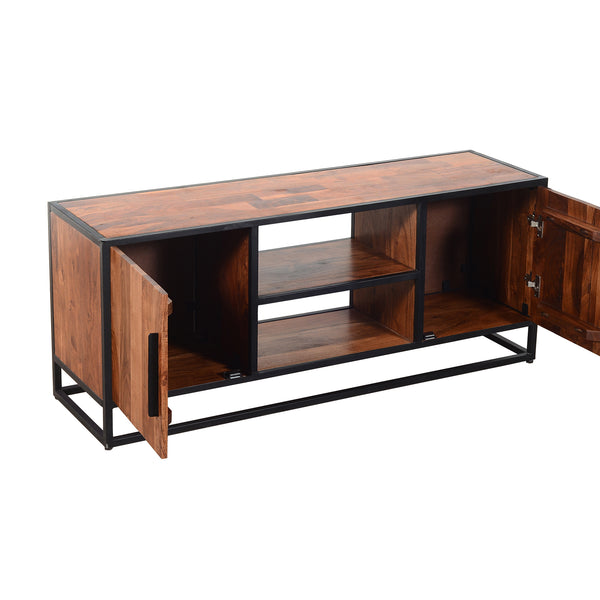 54 Inch Metal Frame TV Console with 2 Side Door Cabinets, Black and Brown - UPT-197871