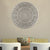 Round Shape Wooden Wall Panel with Ornate Carvings, Washed White - UPT-200174