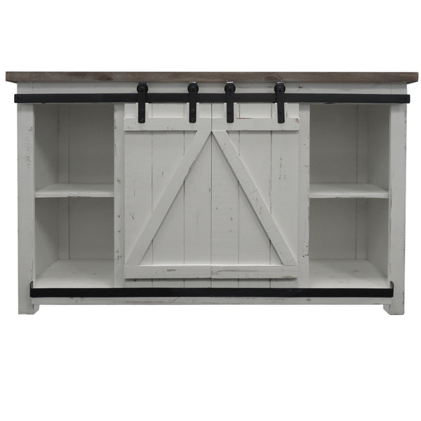 Farmhouse Style Media Console with Barn Style Sliding Door, Brown and White - UPT-205743