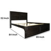 Wooden Queen Bed with Panel Headboard and Grain Details, Rustic Brown - UPT-205766