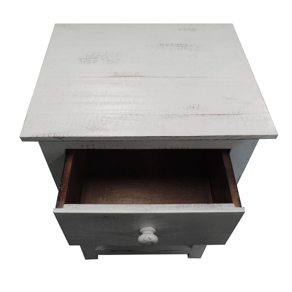 Single Drawer Wooden Side Accent Table with Open Bottom Shelf, White - UPT-205767
