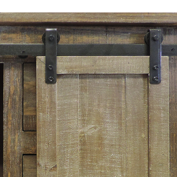 3 Drawer Wooden Accent Chest with Sliding Barn Door Storage, Ash Brown - UPT-205768