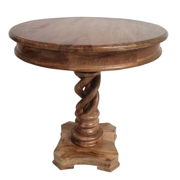 Round Mango Wood Table with Twisted Pedestal Base and Molded Top, Walnut Brown - UPT-213134