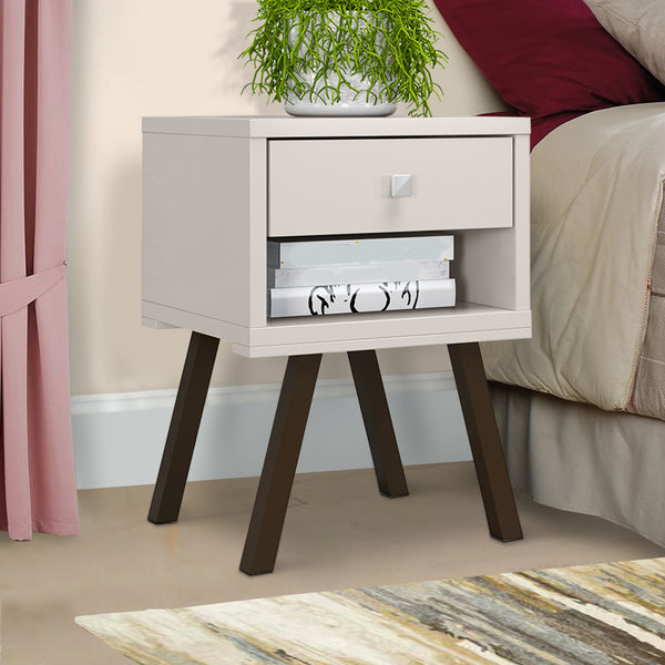 25 Inch Wooden End Side Table Nightstand with Drawer and Splayed Legs, White - UPT-225277