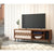 63 Inch Door Wooden Entertainment TV Stand with 3 Open Compartments, Brown - UPT-225280