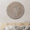 30 Inch Round Wooden Carved Wall Art with Intricate Cutouts, Distressed White - UPT-225286