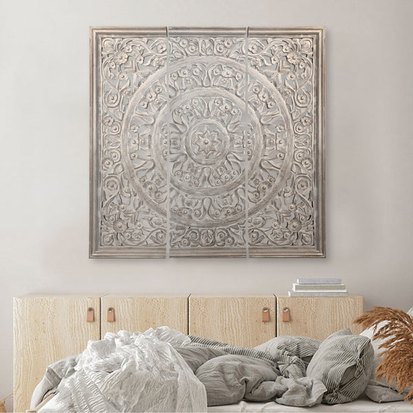Hand Carved Panels Wooden Wall Art with Cutouts, Set of 3, Distressed White - UPT-225287