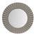 32 Inch Round Beveled Floating Wall Mirror with Corrugated Design Wooden Frame, Gray - UPT-226279