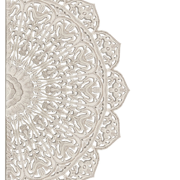 48 inch Half Moon Hand Carved Floral Mango Wood Wall Panel Decor, Antique White - UPT-226284