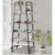 74 Inches 6-Tier Wooden Ladder Storage Bookshelf with Metal Frame, Gray and Black - UPT-229606