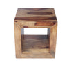 Cube Shape Rosewood Side Table With Cutout Bottom, Brown - UPT‐30350
