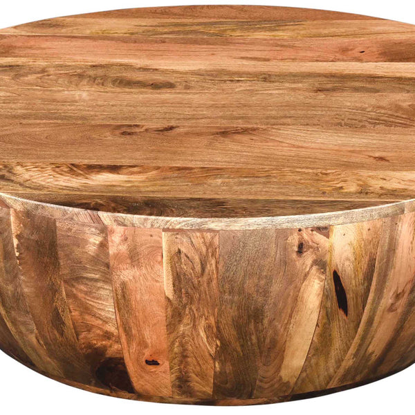 Mango Wood Coffee Table In Round Shape, Dark Brown By The Urban Port - UPT-32180