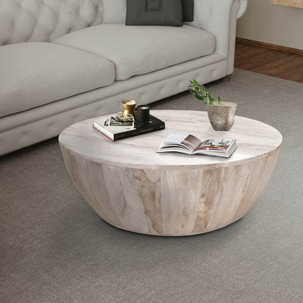 Distressed Mango Wood Coffee Table in Round Shape, Washed Light Brown - UPT-32181