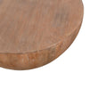 Drum Shape Wooden Coffee Table with Plank Design Base, Distressed Brown - UPT-32182