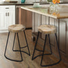Wooden Saddle Seat Barstool with Metal Legs, Large, Brown and Black