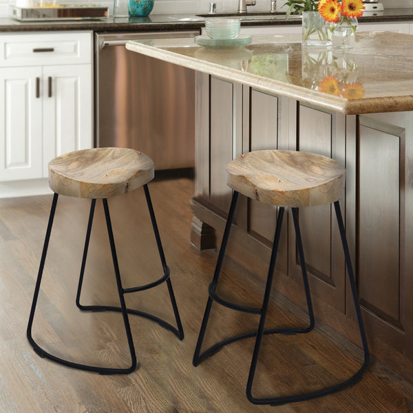 Wooden Saddle Seat Barstool with Metal Legs, Large, Brown and Black - UPT-37900