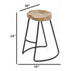 Wooden Saddle Seat Barstool with Metal Legs, Small, Brown and Black - UPT-37910
