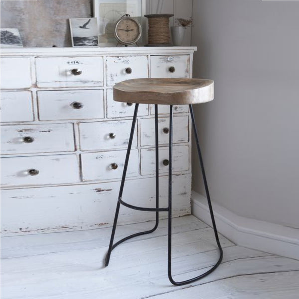 Wooden Saddle Seat Barstool with Tubular Metal Base, Small, Brown and Black - UPT-37910