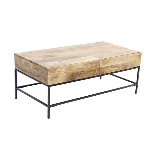 Mango Wood Coffee Table With 2 Drawers, Brown And Black - UPT‐39290