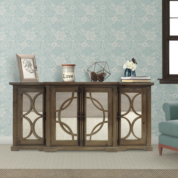 4 Door Wooden Console with Circled Design Mirrored Front, Brown - UPT-624024792