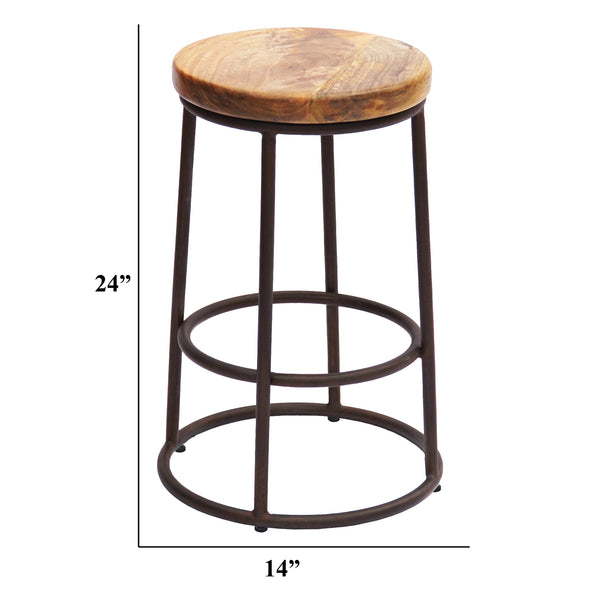 24 Inch Acacia Wood Counter Height Barstool With Iron Base, Brown And Black - UPT‐636038472