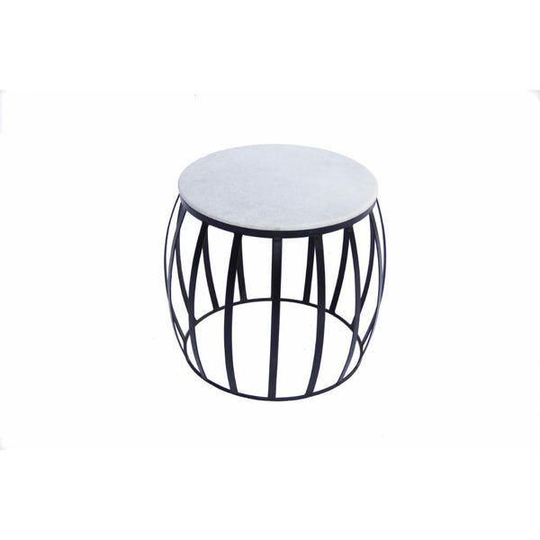 UPT-70000 The Urban Port Concave Base Round Marble Top Side/ End Table, White