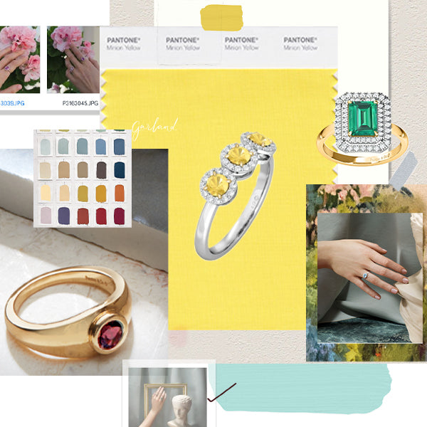 Collage of images including yellow sapphire, emerald and garnet rings from Fenton.