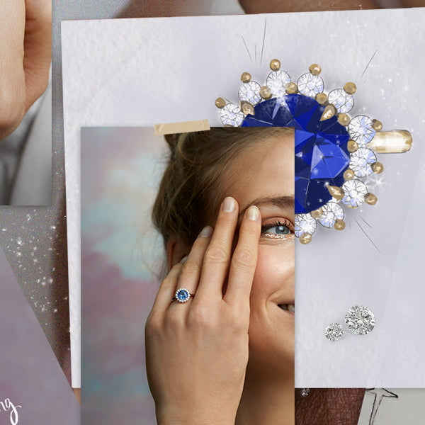 Collage of images feature sketches and photographs of The Star ring from Fenton - blue sapphire with a halo of diamonds.