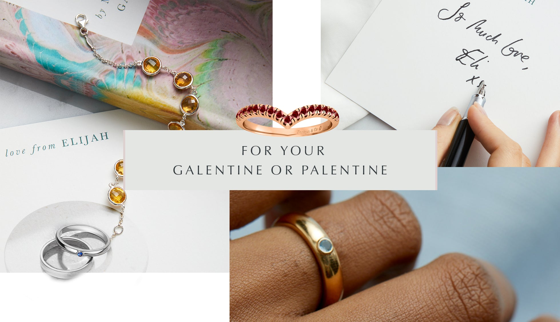 Galentines Gift Guide from Fenton, collage of images, including emerald, aquamarine and garnet rings.