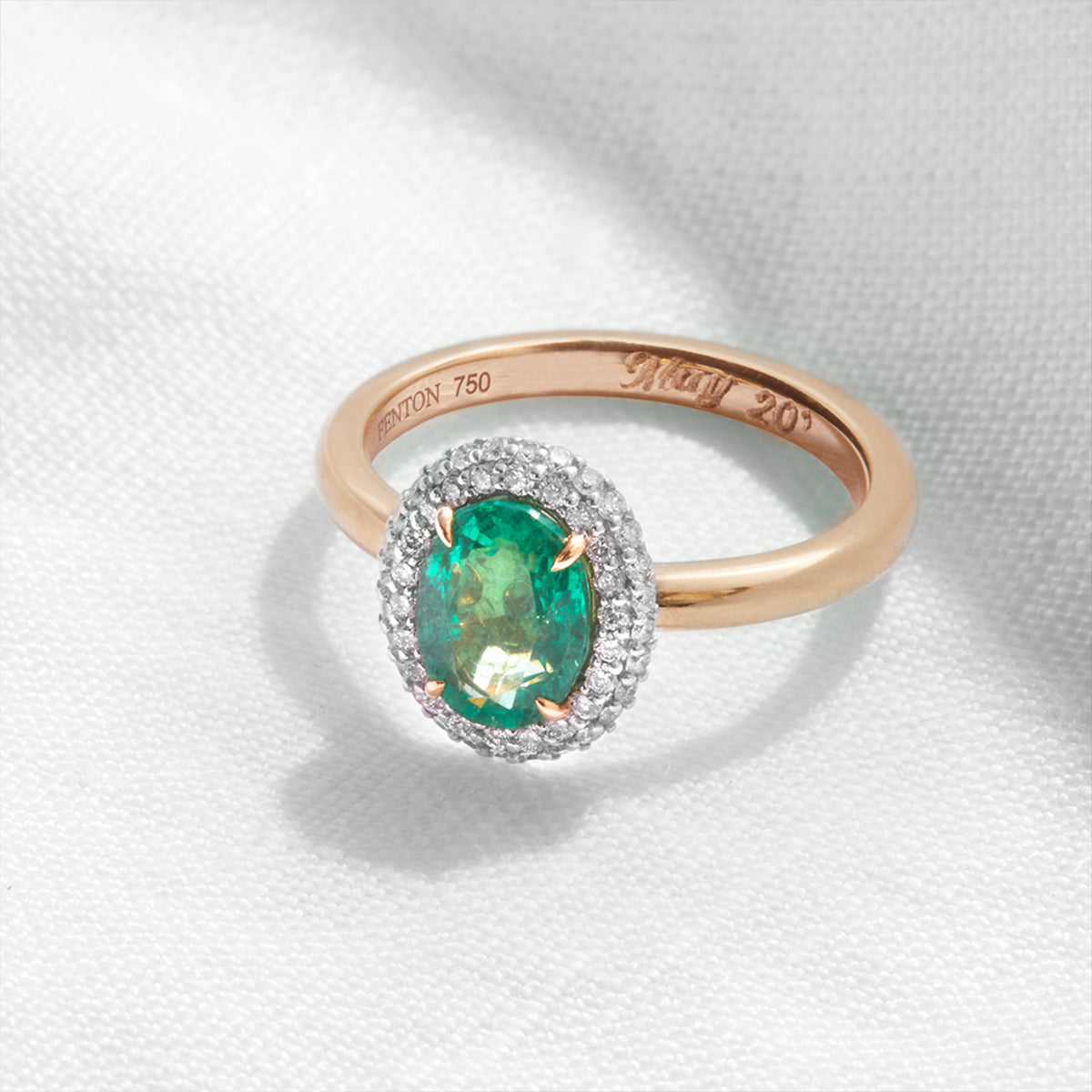 Oval Cut Emerald Vintage Engagement Ring from Fenton in 18k rose gold