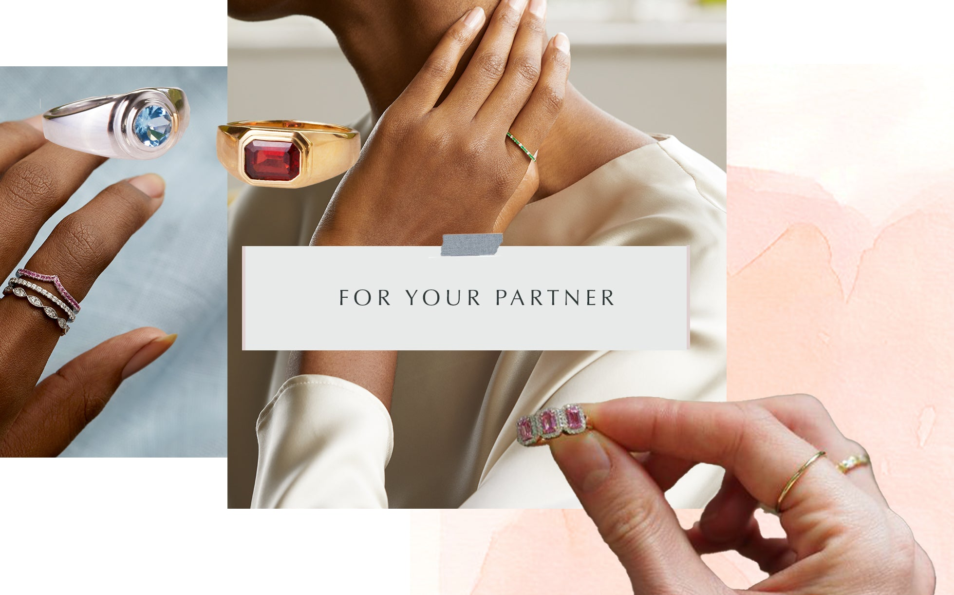 Valentines Gift Guide from Fenton for your partner, collage of images, including aquamarine, pink sapphire and garnet rings.