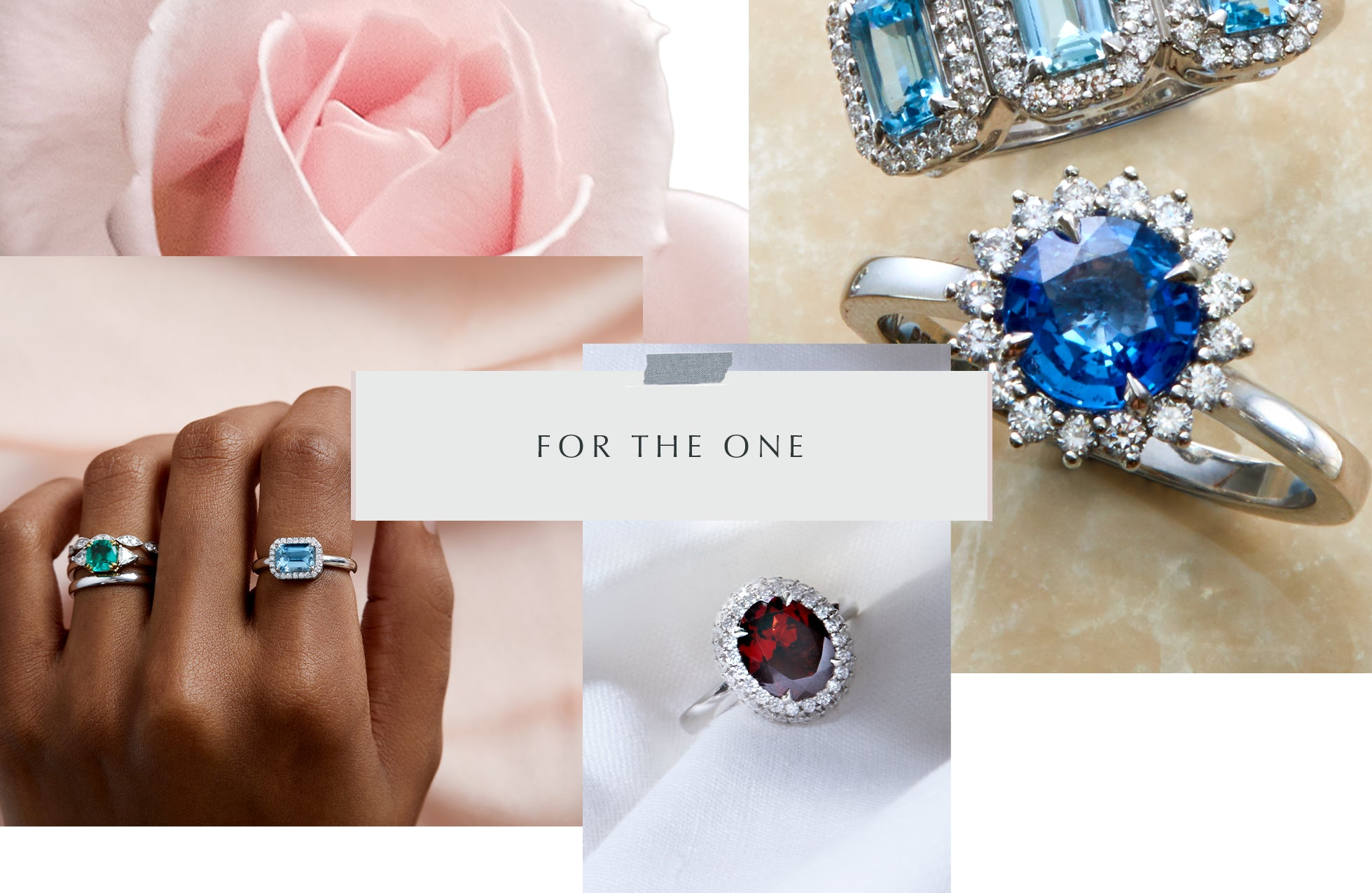Valentines Proposal, Ethical Rings Gift Guide from Fenton, collage of images, including emerald, blue sapphire, aquamarine and garnet rings.