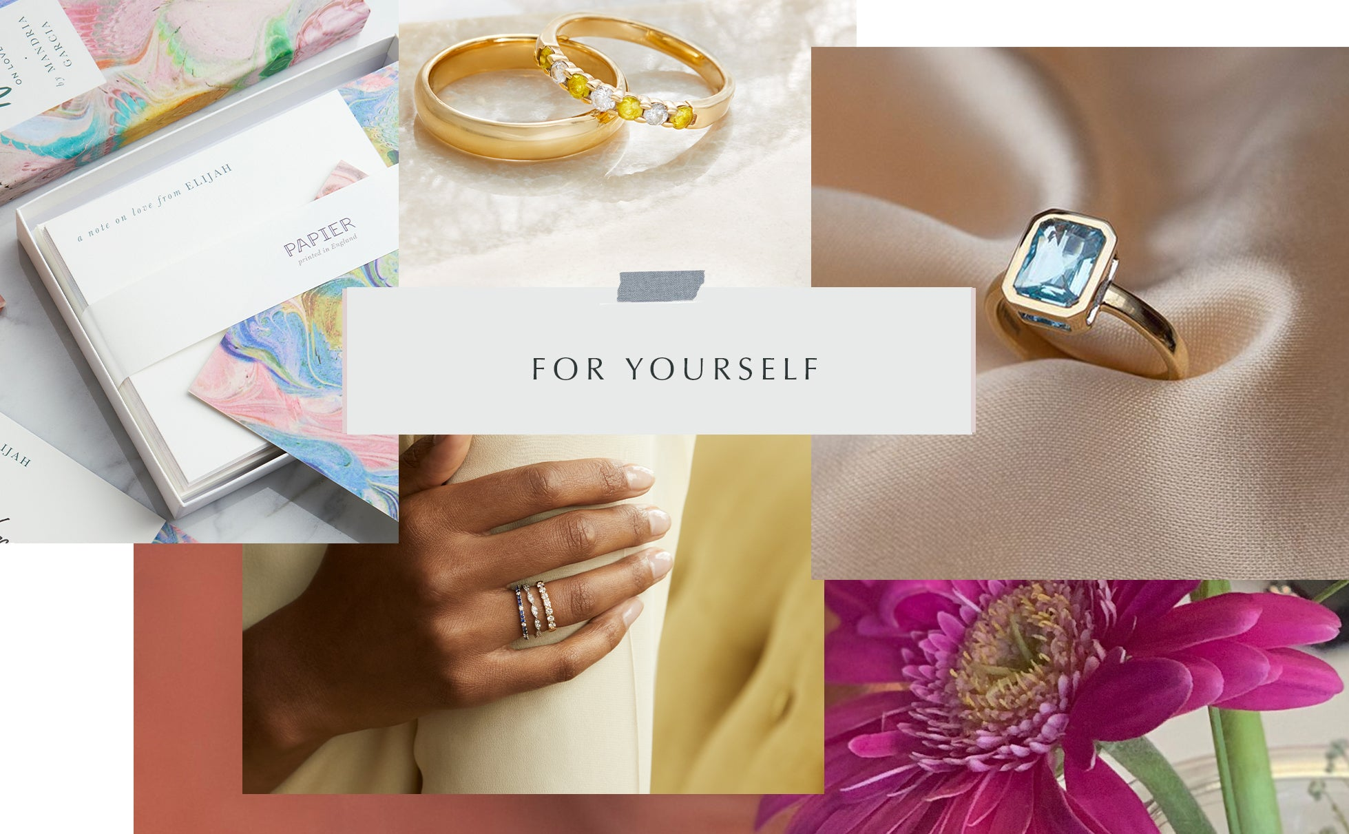 Self-gifting Gift Guide from Fenton, collage of images, including aquamarine and yellow sapphire rings.