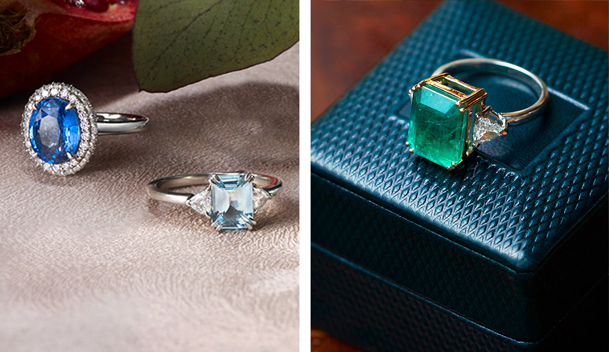 Aquamarine Trilogy Blue Sapphire Vintage and Emerald Trilogy Engagement Ring from Fenton