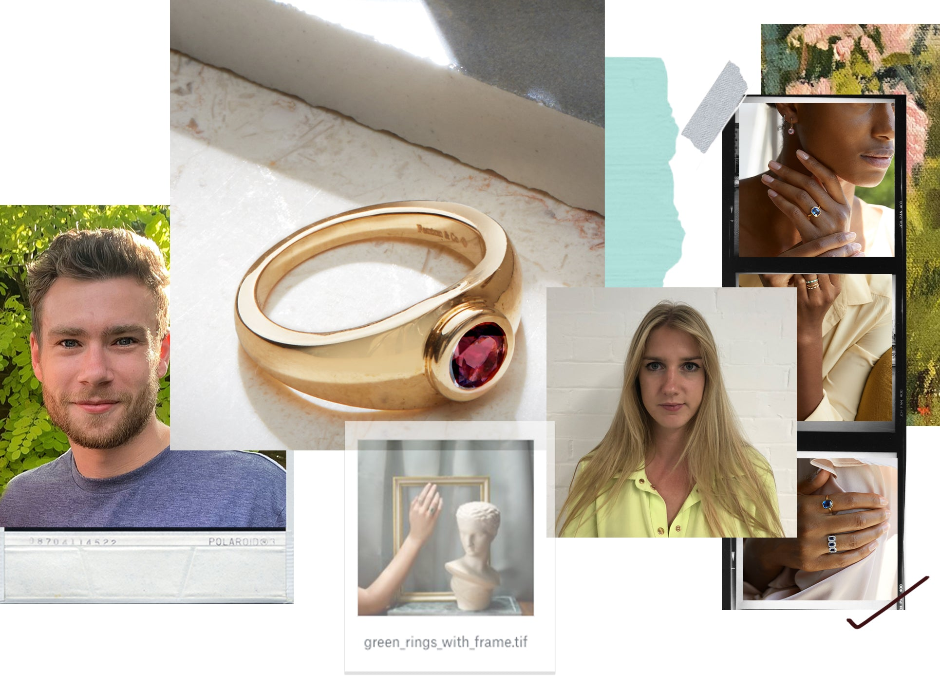 Collage feature the Garnet Signet Ring by Fenton