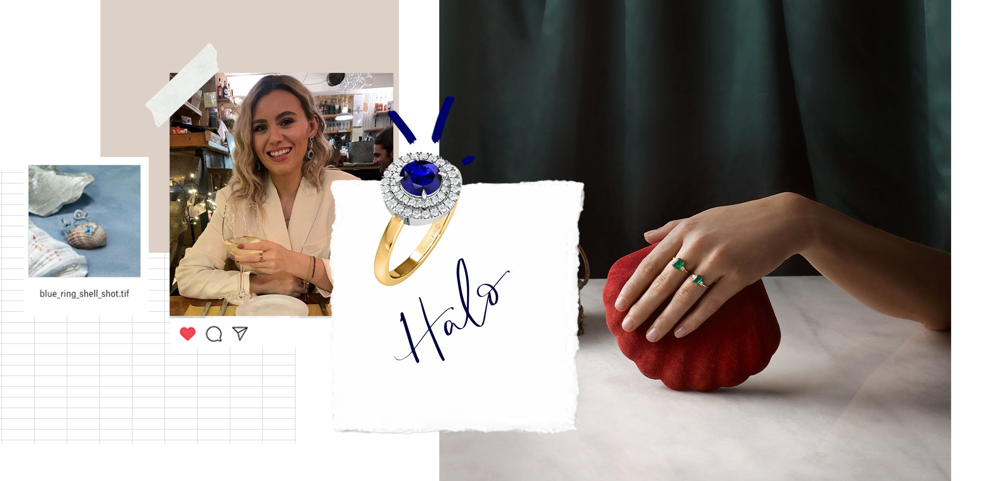 Collage feature the Blue Sapphire Halo Ring by Fenton