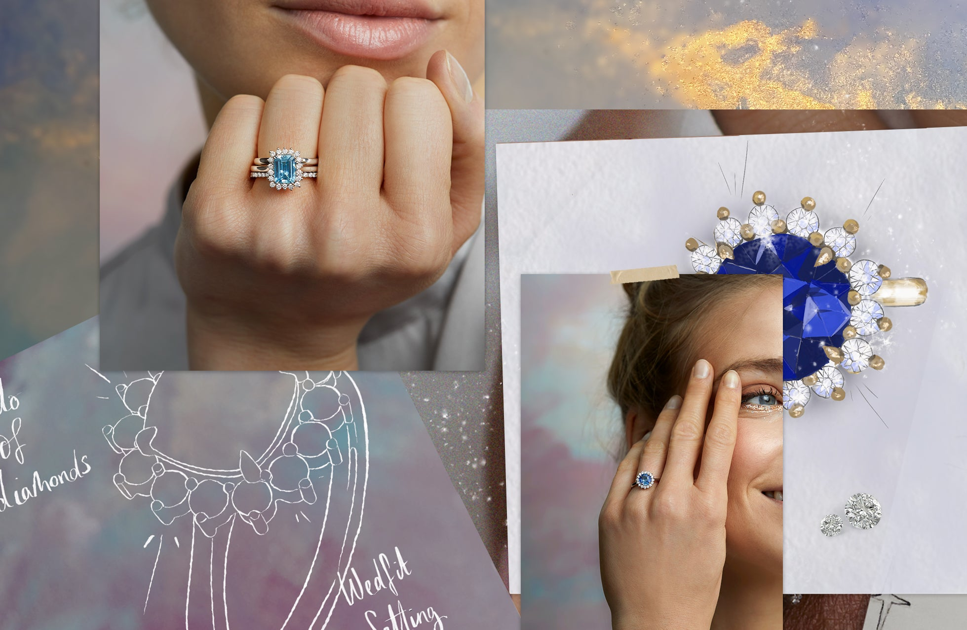Collage of images feature sketches and photographs of The Star ring from Fenton - blue sapphire and aquamarine with a halo of diamonds.