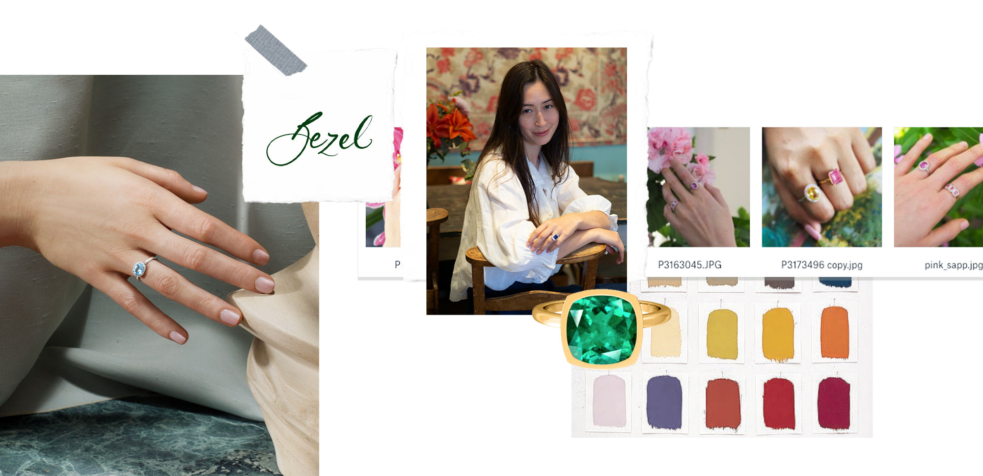 Collage feature the Green Emerald Bezel Ring and Aquamarine East West by Fenton